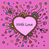Vector round retro ornament. With heart textbox. Eps10 Stock Images