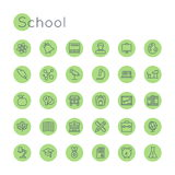 Vector Round School Icons Stock Images