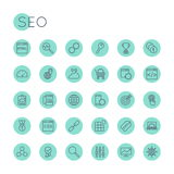 Vector Round SEO Icons Stock Images