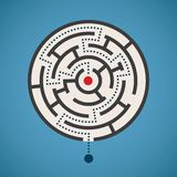 Vector round shape maze concept with path Stock Images