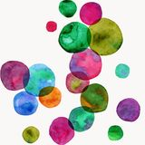 Vector round shapes seamless ornament. Bright watercolor bubbles. Hand painted illustration. Vector format. Royalty Free Stock Photography