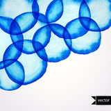 Vector round shapes watercolor  ornament. Paints. Watercolor blu. E banner.  Watercolor blue pattern. Round watercolor stains. Watercolor rounds background Royalty Free Stock Photography