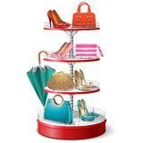 Vector Round Shelf with Female Accessories Royalty Free Stock Images
