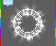 Vector round shiny frame with flare special effect (transparency in additional format only). Luxury white light ring. Abstract Glow circle on transparent stock illustration