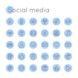 Vector Round Social Media Icons Stock Photography