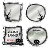 Vector round and square banner for Halloween with pumpkin and tree. Vector round and square banner - mirror on Halloween with pumpkin and tree Royalty Free Stock Images
