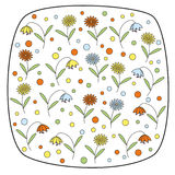 Vector round square element with daisy flowers and bellflowers Royalty Free Stock Image