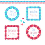 Vector round and square wreath set. With ornamental elements in blue and pink colores Royalty Free Stock Photography