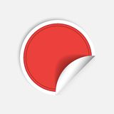Vector round stickers with curled edge isolated on white background. Vector red round stickers with curled edge isolated on white background Stock Photos
