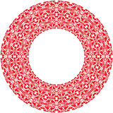 Vector round thick frame from red ornamentation Royalty Free Stock Photo