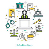 Defend Your Rights - round concept Royalty Free Stock Image
