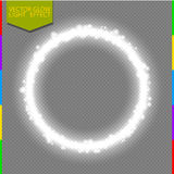 Vector round white shiny frame light effect with spark isolated on transparent background Royalty Free Stock Image