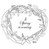 Vector round wreath with outline Forsythia flower  Royalty Free Stock Image