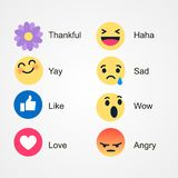 Vector round yellow cartoon bubble emoticons for social media chat comment reactions, icon template face tear, smile, sad, flower, stock illustration