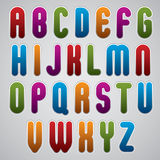 Vector rounded alphabet letters, bold and condensed font in retr. O poster style, made in web buttons style. Uppercase set Royalty Free Stock Photos