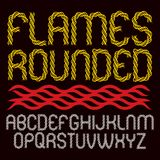 Vector rounded capital alphabet letters collection made with red. Infernal blaze Stock Photography