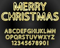 Gold alphabet and numerals. Vector rounded font alphabet and numerals with gold foil texture Royalty Free Stock Image