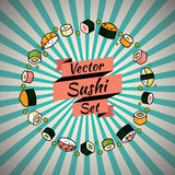Vector rounded sushi set Stock Images