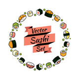 Vector rounded sushi set Stock Photography