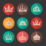 Vector royal crowns icons set Stock Image