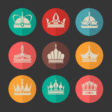 Vector royal crowns icons set Stock Photos
