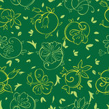 Vector Royal Golden Green Flowers Seamless Pattern Stock Photos