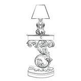 Vector Royal lamp and comode table with Acanthus ornament Stock Photography