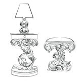 Vector Royal lamp and comode table with Acanthus ornament pedestal Stock Photography