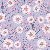 Vector Roze Bloemen Blauwe Achtergrond Cherry Blossom Meadows Seamless Pattern stock afbeeldingen