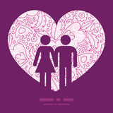 Vector roze bloemen lineart paar in liefde Stock Foto
