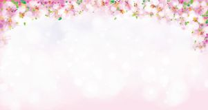 Vector roze, bloemengrens, tot bloei komende sakuraboom, bokeh effect stock illustratie