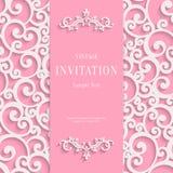 Vector Roze 3d Uitstekende Uitnodigingskaart met Werveling royalty-vrije illustratie