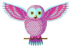 Vector roze en turkooise wintertalings cyaanuil met het uitspreiden van vleugels Stock Fotografie
