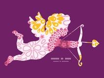 Vector roze gebiedsbloemen die cupido schieten Royalty-vrije Stock Fotografie