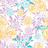 Vector roze, geel, blauw verlaat en bloeit de zomer naadloos patroon met pastelkleurinstallaties en gaat op witte achtergrond weg Stock Fotografie