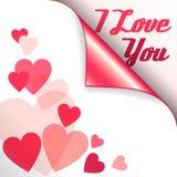 Vector roze hart met gekrulde hoek en teksten I Liefde u Royalty-vrije Stock Foto