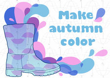 Vector rubber boots for rain on a background of autumn umbrellas Stock Image