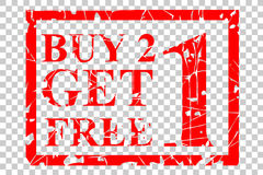 Rubber stamp, buy one get one free, at white background. Vector rubber stamp, buy one get one free Royalty Free Stock Images