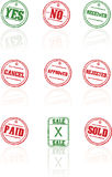 Vector rubber stamps on white background. Vector Illustrations of a grunge rubber ink stamp on white background Royalty Free Stock Photo