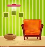 Vector ruimte met groen behang Stock Afbeelding