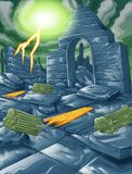 Vector ruin of building and thunderbolt sky. royalty free illustration