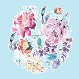 Vector runden mit Blumenrahmen des Aquarells von roten Rosen Lizenzfreie Stockfotos
