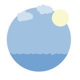 Vector runden Rahmen des Karikaturbildes mit blauem Meer, Himmel, Sonne Lizenzfreie Stockfotografie