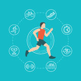 Vector running and jogging infographics concept. In flat style with linear icons Royalty Free Stock Image