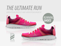 Vector running shoes ad product template Stock Images