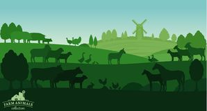 Vector rural landscape with farm animals. And windmill Stock Photo
