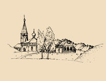 Vector rural landscape illustration. Hand drawn russian countryside or farmland. Sketch of village with church, birches. Royalty Free Stock Photo