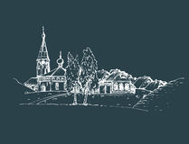 Vector rural landscape illustration. Hand drawn russian countryside or farmland. Sketch of village with church, birches. Stock Photography