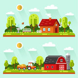 Vector rural landscapes. Flat design vector landscape illustrations with farm building, house, bench, fountain or drinking bowls for birds, tractor. Farming Royalty Free Stock Images