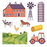Vector rural ranch design elements set. Rural design elements set. Livestock animals - cow, horse and chicken on green countryside landscape field, hay stack and Stock Photography